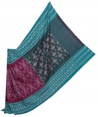 Purple and green sambalpuri  handloom cotton saree