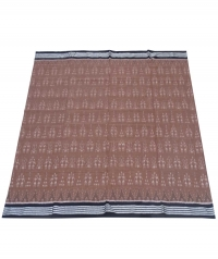 Walnut brown and black sambalpuri handloom cotton saree