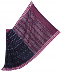 Black and red sambalpuri handloom cotton saree