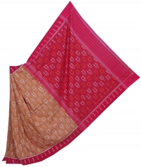 Tortilla brown and red sambalpuri handloom cotton saree
