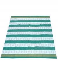 White and green sambalpuri handloom cotton saree