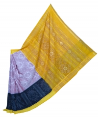 Black and yellow sambalpuri handloom cotton saree