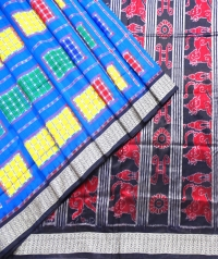 Blue, red and yellow  aswini silk saree
