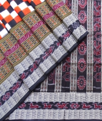 Orange, black and white  sambalpuri silk saree