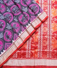 Magenta, black and maroon  Sambalpuri silk saree