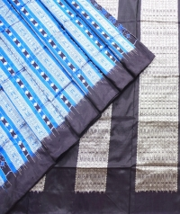 Blue and black  sambalpuri silk saree