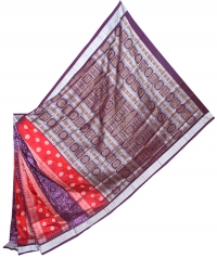 Maroon and coffee bomkai silk saree