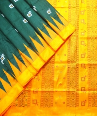 Sacramento green and  amber orange bomkai silk saree