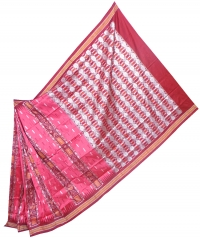 Punch pink and maroon bomkai silk saree
