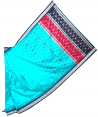 Turquoise blue and black bomkai silk saree
