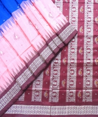 Sapphire blue, blush pink and maroon bomkai silk saree