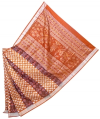 Orange and maroon  sambalpuri silk saree