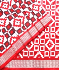 Red and white sambalpuri silk saree