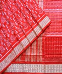 Red and cream sambalpuri silk saree