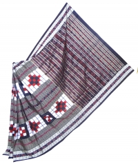 Red, white and black sambalpuri silk saree