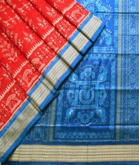 Red and azure blue sambalpuri silk saree