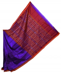 Violet and maroon khandua silk saree
