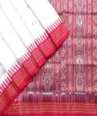 White and red khandua  silk saree