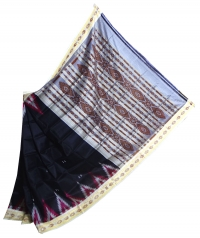 Black and white khandua silk saree