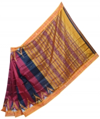 Black, maroon and orange khandua silk saree