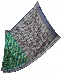 Green and black khandua silk saree