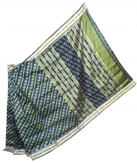 Pear green and black khandua silk saree