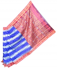 Blue and maroon khandua silk saree