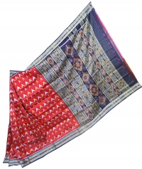Maroon and black khandua silk saree