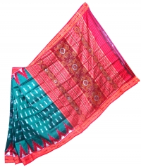 Teal blue green and red khandua silk saree