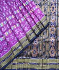 Purple and black khandua silk saree