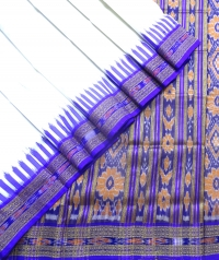 White and violet khandua silk saree