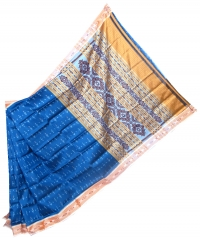 Navy blue and cream khandua silk saree
