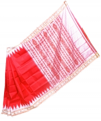 Red and white khandua silk saree