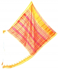 white and yellow khandua silk saree