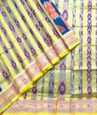Yellow, green and orange khandua silk saree