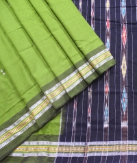 Olive green and black sambalpuri  handwoven cotton saree