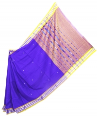 Violet and yellow sambalpuri  handwoven cotton saree