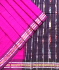 Pink and black sambalpuri  handwoven cotton saree