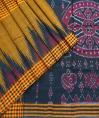 Dark goldenrod and black sambalpuri  handwoven cotton saree