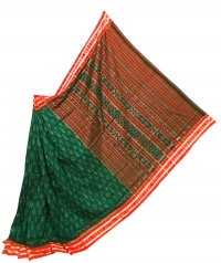 Green, red and maroon sambalpuri  handwoven cotton saree