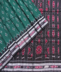 Green and black sambalpuri  handwoven cotton saree