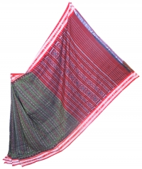 Green and red sambalpuri  handwoven cotton saree