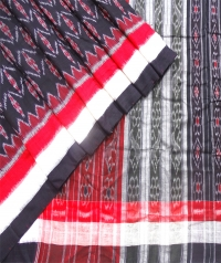 Black, red and white sambalpuri  handwoven cotton saree