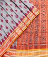 Gray and orange sambalpuri  handwoven cotton saree