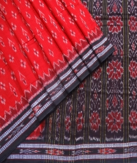 Red and black sambalpuri  handwoven cotton saree