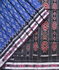 Blue and black sambalpuri  handwoven cotton saree