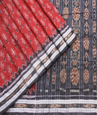 Maroon and black sambalpuri  handwoven cotton saree