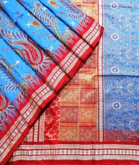 Blue and maroon handwoven fancy silk saree
