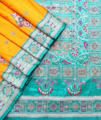 Yellow and sea green handwoven fancy silk saree