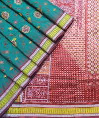 Cal poly pomona green and maroon handwoven fancy silk saree